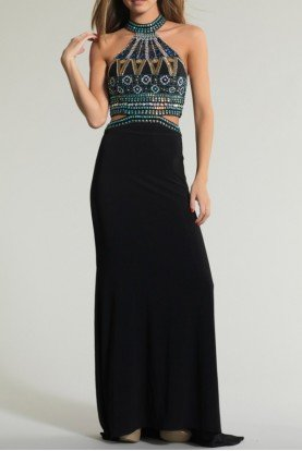Dave and Johnny 1165 Beaded Geometric Cut Out Dress Gown