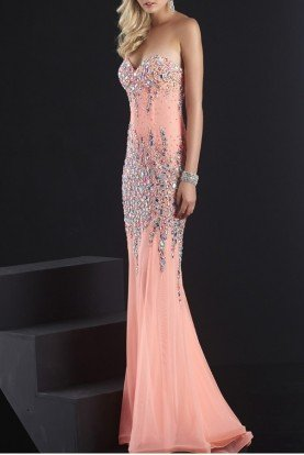 Jasz Couture Nude and Pink Sheer Gown Dress 4823