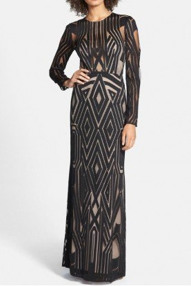 Viera Mesh Geometrical Dress Gown