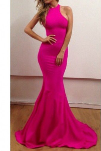 Michael Costello Neon Pink Halter Gown Dress Open Back