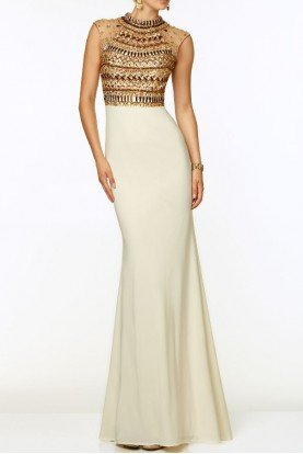 97074 Jeweled Beaded Gold Encrusted Cream White Dress
