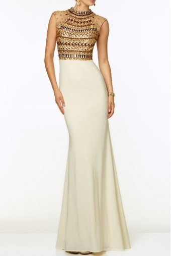 Mori Lee Paparazzi 97074 Jeweled Beaded Gold Encrusted Cream White Dress