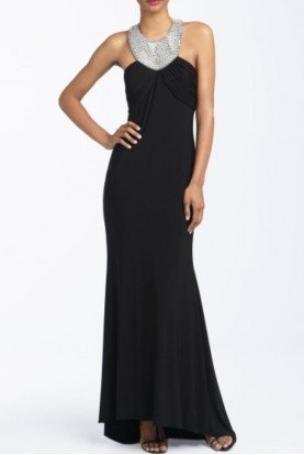 Black Beaded Jersey Halter Gown