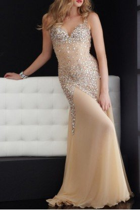 Dazzling Illusion Gold 4614 Beaded Dress Gown