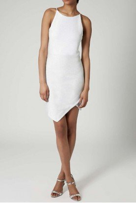 Topshop Tinsel Wrap Dress Silver White