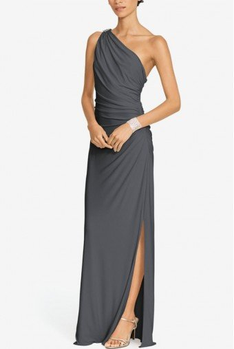 Ralph Lauren Lauren One Shoulder Embellished Silver Jersey Gown