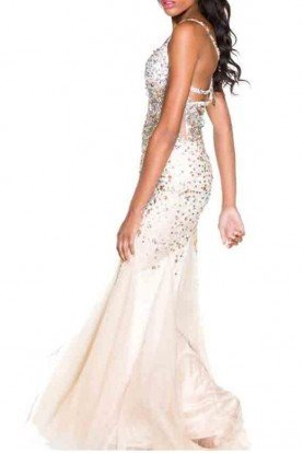 Encrusted Nude with Silver Bombshell Gown Prom