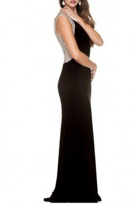 Rhinestone Encrusted Back Gown in Black