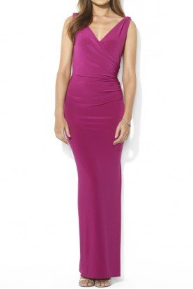 Ralph Lauren Lauren Sleeveless Jersey Brooch Gown in Berry
