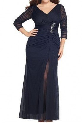 Adrianna Papell Plus Navy Beaded Mesh Gown
