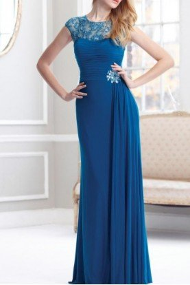 Terani Couture Lace Blue Teal Column Gown Dress M1834