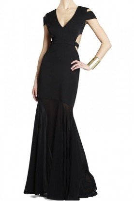 Ava Black Cutout Cage Lock Gown Dress