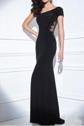TBE21419 Asymmetrical Black Illusion Dress Gown