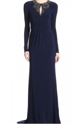 JS Boutique Midnight Blue Long sleeve Gown