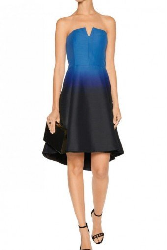 Halston Heritage Ombre Faille Dress Blue Tea Length