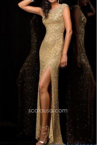 Scala Gold Sequin Gown with high slit