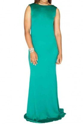 Emerald Sleeveless Open Back Gown