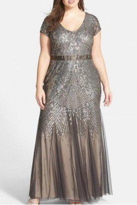 Adrianna Papell Beautiful Beaded sequin Gown Silver Gold Bronze Shades