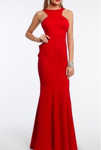Xscape Red Ruffle Open Back Gown Prom Dress