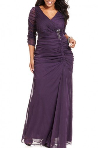 Adrianna Papell Plus Size Three-Quarter-Sleeve Ruched Gown Petite