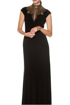 Black Cap Sleeve Cleo Dress Gown