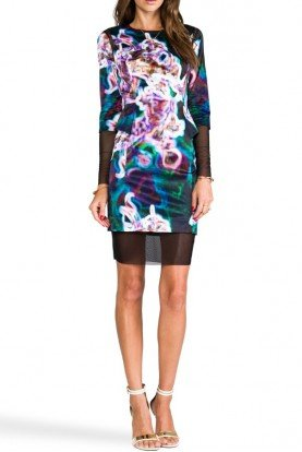 NEON FLORAL PRINT MESH ILLUSION PEPLUM DRESS