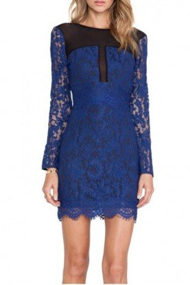NBD Long Sleeve Royal Blue Lace Party Dress