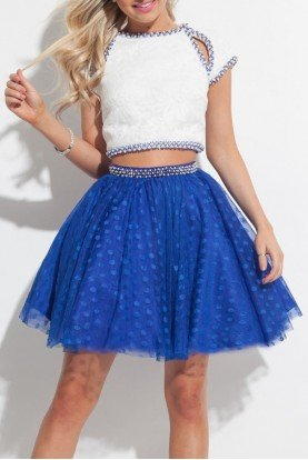 Two Piece White and Blue Party Dress Homecoming