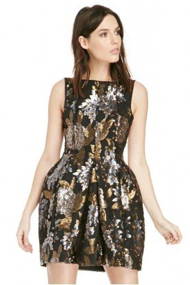 Wonderwall Black Floral Sequin Bell Dress