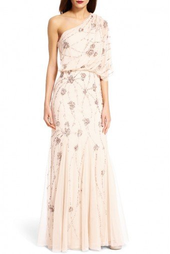 Adrianna Papell One Shoulder Beaded Gown in Nude