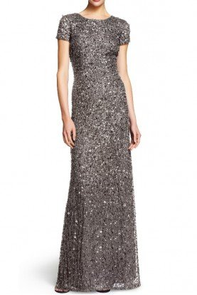 Lead Beaded Scoop Back Sequin Dress Bridesmaid