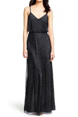 Black Art Deco Beaded Blouson Gown Bridesmaid