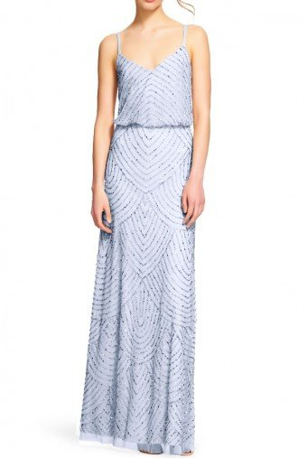 Adrianna Papell Dusty Blue Art Deco Beaded Blouson Gown Dress