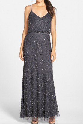 Gunmetal Grey Gold Embellished Beaded Blouson Gown