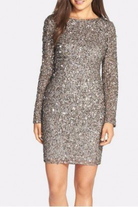 Sequin Embellished Scoop Back Cocktail Dress Lead