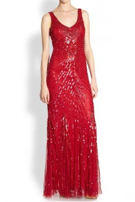 Red Sequin Beaded V-Back Mesh Evening Gown