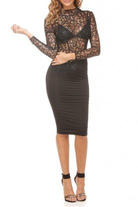 Lexi Glitter Lace Black Midi Dress