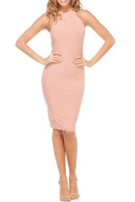 Abyss Vivien Classy Halter Dress with Open Back Blush Pink