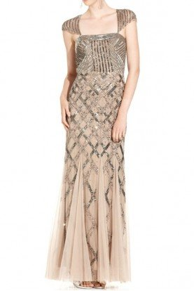 Sequin Square Neck Beige Cap Sleeve Beaded Gown