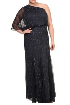 Black One Shoulder Beaded Blouson Gown Plus Size
