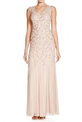 Aidan Mattox Beaded Embellished Champagne Gold Gown Bridesmaid Dress
