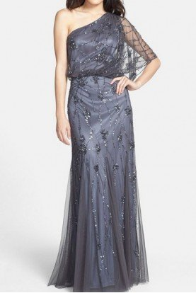 Beaded One Shoulder Blouson Gown Silver Gunmetal