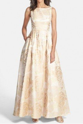 Adrianna Papell Metallic Floral Jacquard Ball Gown in Champagne