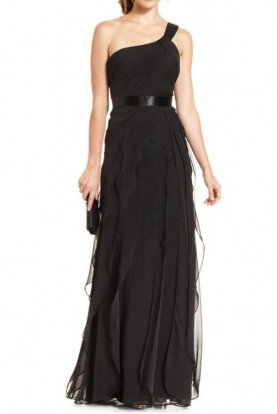 Adrianna Papell One Shoulder Tiered Chiffon Gown in Black