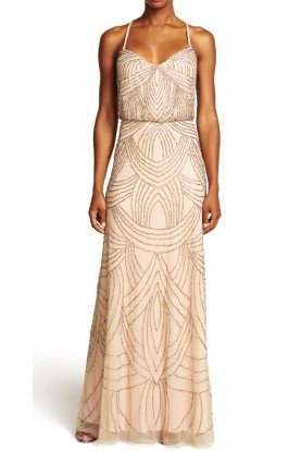 Beaded Deco Mesh Blouson Dress Gown in Taupe Pink