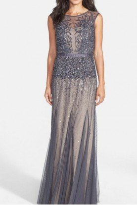 Sleeveless Beaded Illusion Gown Gunmetal Grey