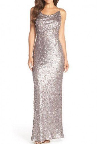Adrianna Papell Silver Mink Sequin Beaded Cowl-neck Open Back Dress