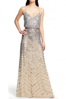 Adrianna Papell Gold Silver Chevron Sequin Beaded Blouson Gown