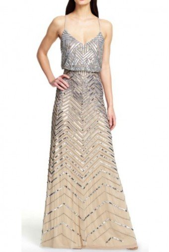 Adrianna Papell Nude Gold Silver Chevron Sequin Beaded Blouson Gown