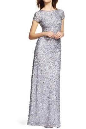 Adrianna Papell Silver Grey Scoop Back Beaded Sequin  Bridesmaid